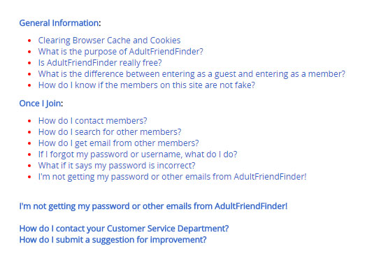 adultfriendfinder customer support page