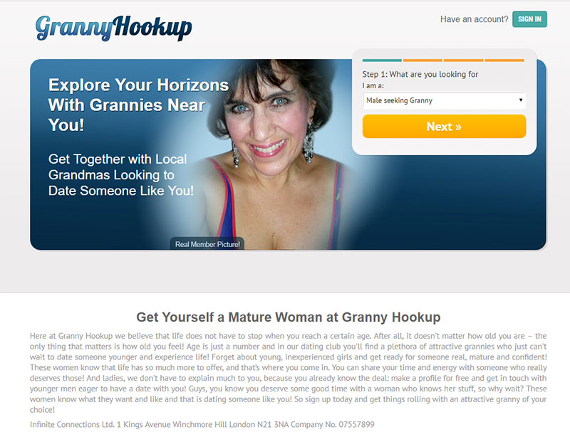 Homepage screenshot of Granny Hookup