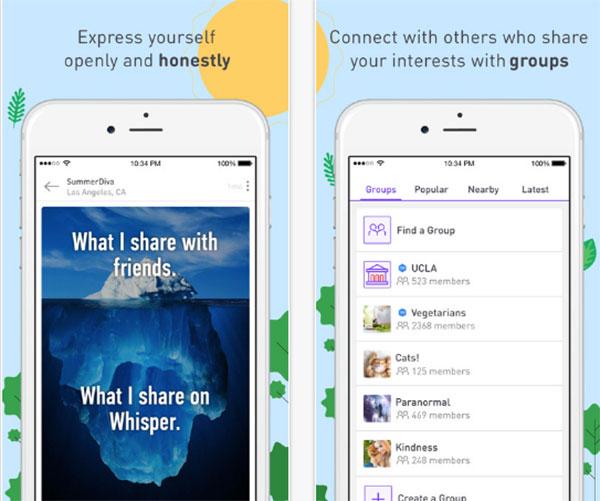 whisper app screenshot