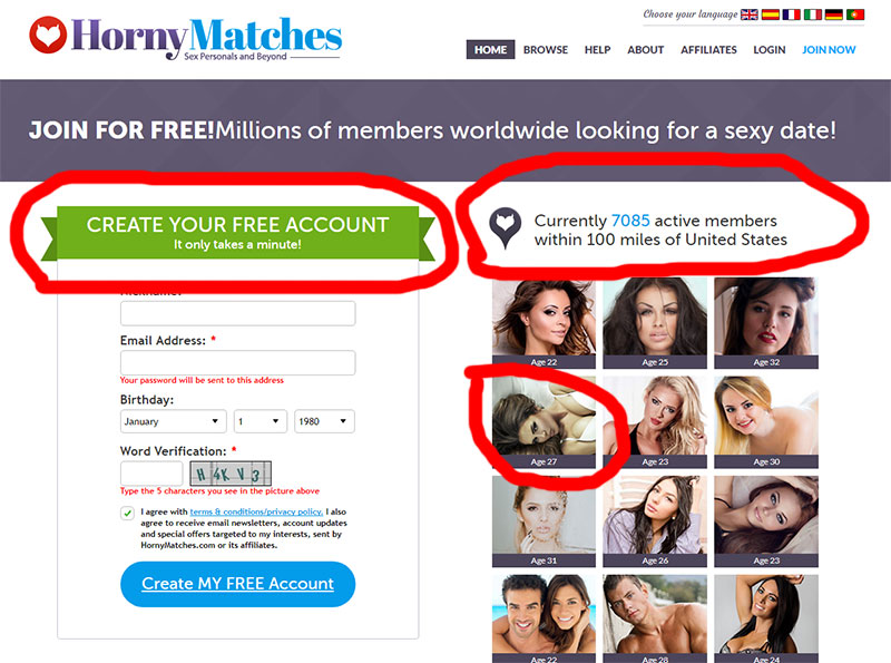 Hornymatches join landing page