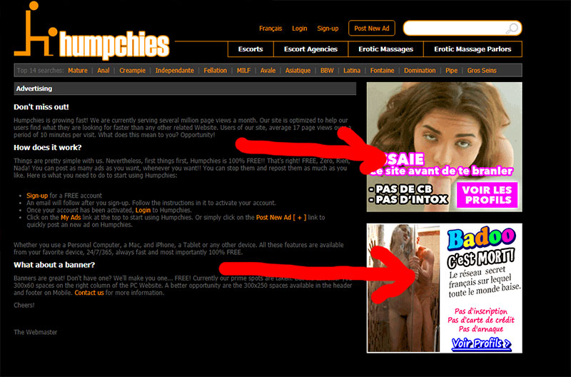 banner ads on Humpchies