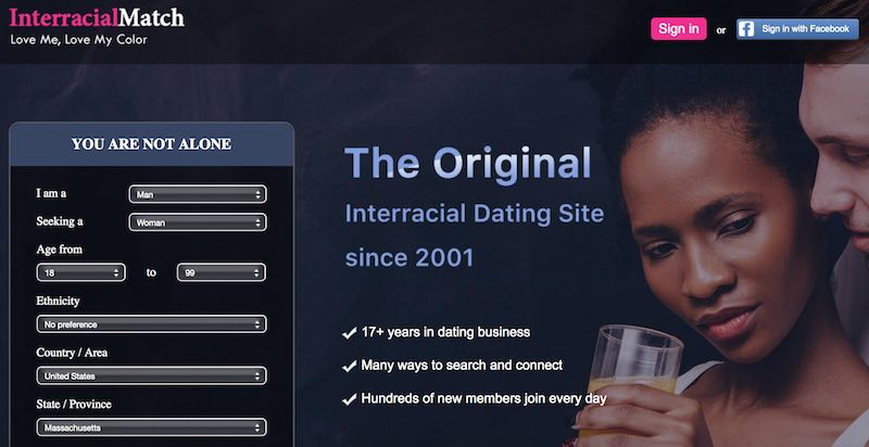 interracial match website screenshot