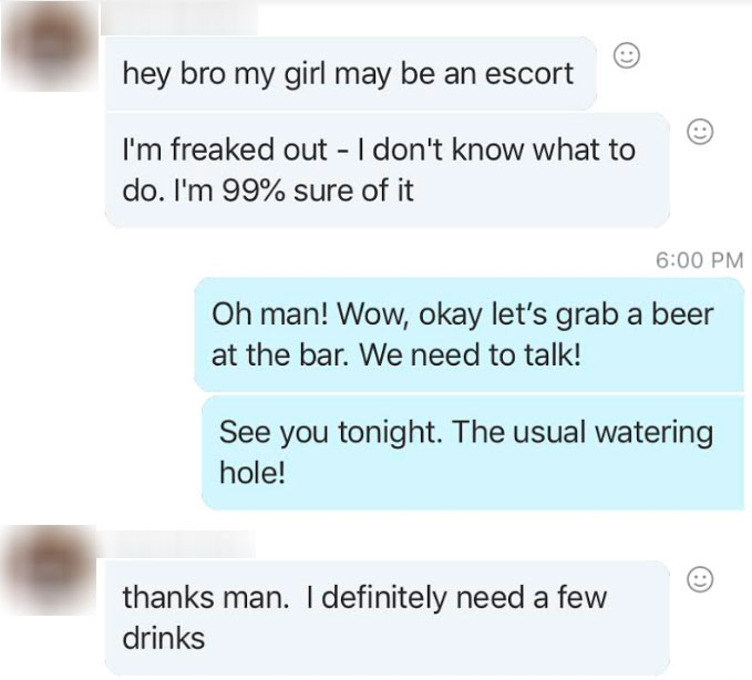 message from guy about girlfriend escort