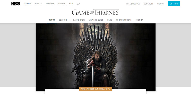 HBO.com GOT website