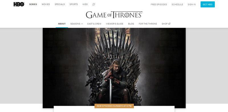 HBO.com GOT website