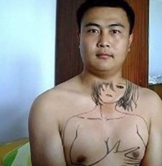 naked asian tattoo with big boobs