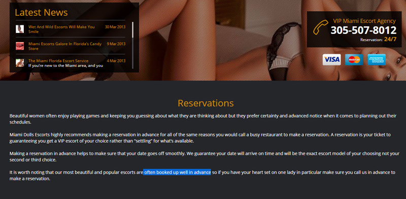 reservations on The Miami Dolls